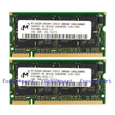 New Micron 2GB 2X1GB PC2700 DDR1 333MHZ 200pin Sodimm Laptop Memory low Density