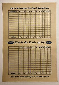Vintage 1935 World Series Ford Broadcast Scorecard Detroit Tigers