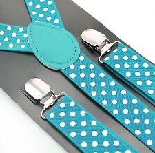 bretelles pour Pantalon HOMMES FEMMES jeans 3 Clips Turquoise à pois