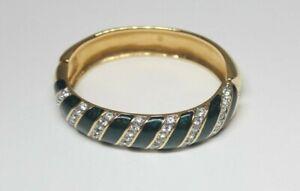 Svarovski Dark Green enamel gold tone with Rhinestone decoration Bangle Bracelet