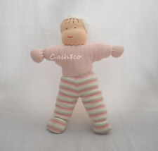 """Under the Nile organic cotton cloth rag doll 12"""" tall Pink stripes Waldorf style"""