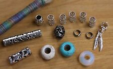 15 Mixed Dread Bead Pack + 2m Silk Thread (5mm 3/16' Hole)
