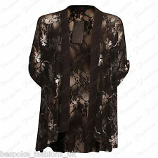 Ladies Women's Floral Lace Short Sleeve Open Cardigan Kimono Top Plus Size 14-28 Silver 20