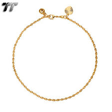 TT Gold 18K Gold Filled Waved Chain Anklet Jingle Bell (AN03) NEW