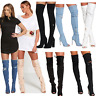 JUSTYOUROUTFIT WOMENS LADIES DISTRESSED  DENIM THIGH HIGH BOOTS