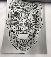 Vinyl Fabric Skull Design Silver Upholstery Textured-faux Leather by The Yard