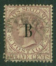 SG 22 británico Oc. en Siam, BANGKOK. 1882-85 12 C marrón-púrpura wmk corona Ca...