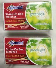 2 Boxes Diamond Strike On Box Kitchen Matches Greenlight 300 Count Ea= 600 Total