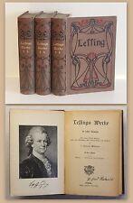 Lessing Werke in sechs Bänden 3 Bücher 1890 Jugendstilausgabe Klassiker xz