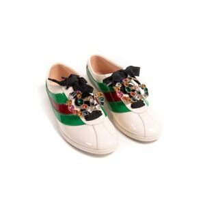 Gucci Patent Bowler Falacer Women's Shoe with removable Crystal GG Logo sz 39.5