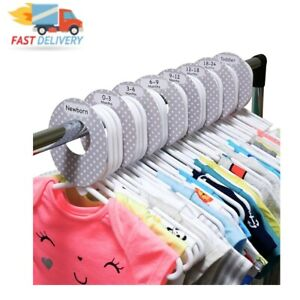 8 Baby Wardrobe Dividers, Plastic Clothes Organisers by Size from Newborn to for