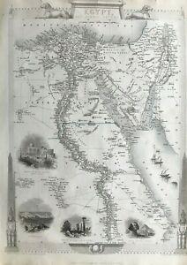1851 Antique Map; Egypt, Nile Valley - John Tallis / Rapkin