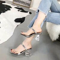 Ladies Mid Block High Heels Clear Slides Mules Sandals Slip on Shoes Slippers