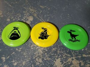WHAM-O Dog Frisbee Colorful Puppy Flying Disc Lot of 3! Shark Pirate Dinosaur