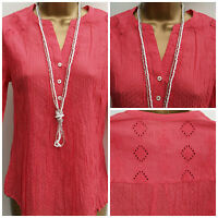 M&S Per Una Ladies Red Dobby Spot Crinkle Tunic Top Size 8 : 24