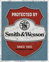 Smith & Wesson S & W Gun Ammo Protected Warning Metal Tin Sign Wall Decor Gift