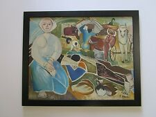 HAREL WPA STYLE MODERNIST PAINTING INDUSTRIAL FARM WORKERS ABSTRACT CUBISM VTG