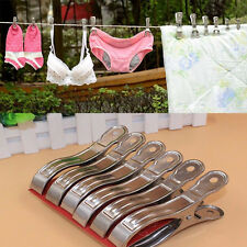 20Pcs Stainless Steel Clothes Hanger Pegs Hanging Clips Laundry Windproof New