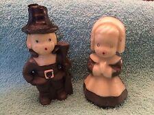 Vintage GURLEY Pilgrim Girl & Boy Candles. Never Lit. Thanksgiving 1/ Label