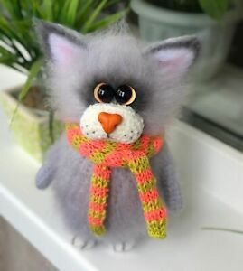 Cat knitted toy - handmade work