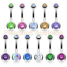 Double Gem Surgical Steel Belly Button Bar Navel Ring Body Piercing Jewellery