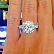 2.50 Ct Round Cut Moissanite Double Halo Engagement Ring In Solid 14k White Gold