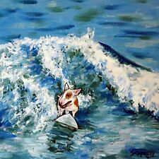 Bull terrier surfing dog animal coaster art tile