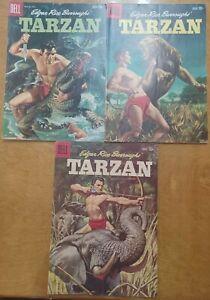 Tarzan Edgar Rice Burroughs 3 Lot Dell Comics March - August 1959 111, 112, 113