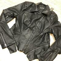E-154 Topshop moto faux leather biker jacket BLACK size M nwd