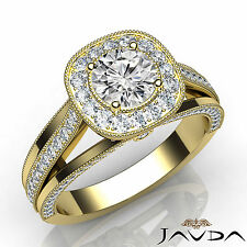 Round Cut Halo Pave Set Diamond Engagement Ring GIA D VS2 18k Yellow Gold 1.4Ct