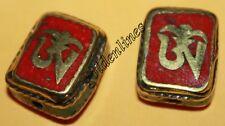 Tibetan Nepalese Handmade Coral Turquoise 2 beads Nepal beads Tibetan beads B534