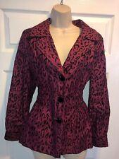 Laura Ashley Beautiful Burgundy Black Leopard Sparkly Print Blazer Jacket Large