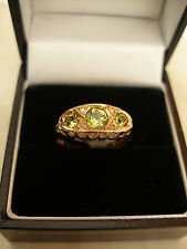 9CT GOLD FINE PERIDOT & DIAMOND DRESS RING BNIB MADE IN ENGLAND PURE QUALITY