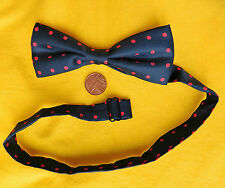 Silk polka dot bow tie slim line Navy blue red spots Collar size 11 to 18 inches