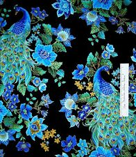 Timeless Treasures Fabric Blue Peacock Floral Plume Metallic Gold Gild YARD
