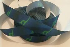 1m grosgrain ribbon 25mm midnight blue with green dinosaurs jurassic