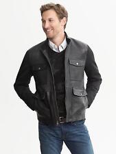 NWT Banana Republic Black Leather Moto Jacket Coat, Black, sz XXL