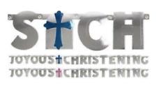 Baptism JOYOUS CHRISTENING Letter Banner Jointed Garland Boy Girl Pink Blue