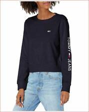 new TOMMY HILFIGER women sweatshirt T12H0BBF navy cotton blend sz M