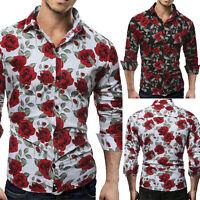 New Mens Casual Formal Shirts Slim Fit Shirt Top Long Sleeve M L XL XXL Fashion
