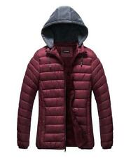 U2wear Women's Contrast-Hood Puffer Coat (Burgundy, 2X)