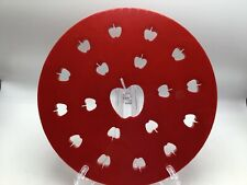 "Fox Run Apple Pie Top Cutter Red Plastic 9.5"" Press Mold Shape Steam Vent Baking"