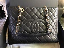 Chanel Black Caviar Calfskin Genuine Grand Shopper Tote Bag Gold Hardware