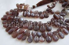 """4"""" CHOCOLATE BROWN MOONSTONE faceted gem stone pear briolette beads 9mm - 10mm"""