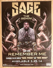 Music Poster Promo Window Sticker Sage The Gemini ~ Remember Me