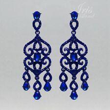 Blue Crystal Rhinestone Chandelier Drop Dangle Earrings Wedding Prom 04633 Alloy