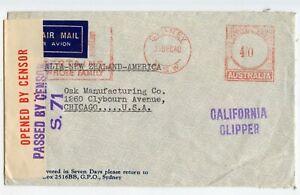 AUSTRALIA WW II CENSORED COVER #S.71, SYDNEY 31DEC40, CALIFORNIA CLIPPER (H189)