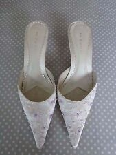 Next Ladies Ivory Satin Embroidered Beaded Slip On Kitten Bridal Shoes Size UK 7