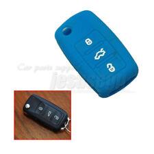 Blue Silicone Remote Flip Key Cover FOB Case For VW Jetta Passat Tiguan Skoda