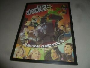 FRAMED SAN DIEGO COMIC CON ATTACK OF THE SHOW 2010 G4 TV POSTER PROMO SIGNED
